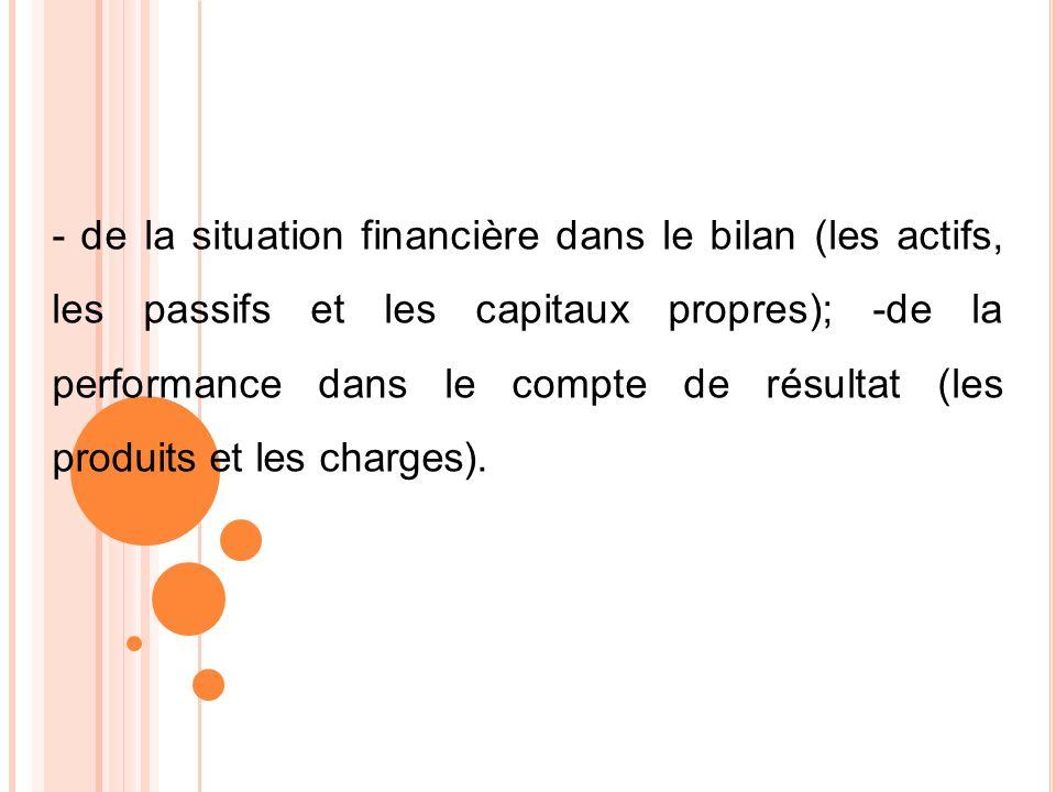 - de la situation financière dans le bilan (les actifs, les passifs et les capitaux propres); -de la performance dans le compte de résultat (les produits et les charges).