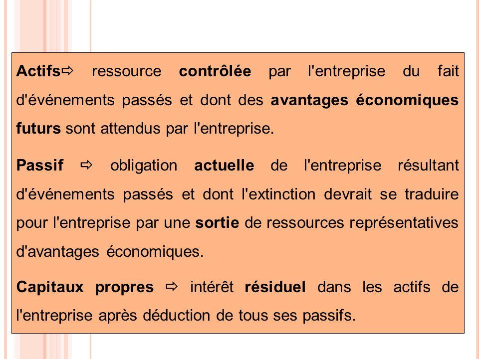 Actifs ressource contrôlée par l entreprise du fait d événements passés et dont des avantages économiques futurs sont attendus par l entreprise.