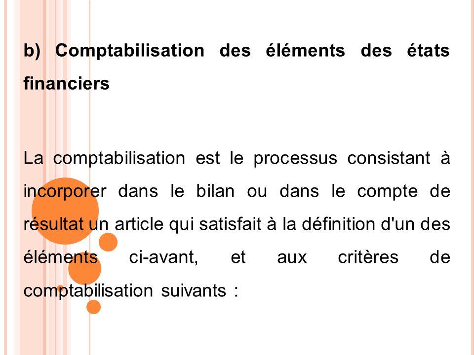 b) Comptabilisation des éléments des états financiers