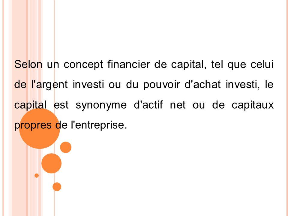 Selon un concept financier de capital, tel que celui de l argent investi ou du pouvoir d achat investi, le capital est synonyme d actif net ou de capitaux propres de l entreprise.
