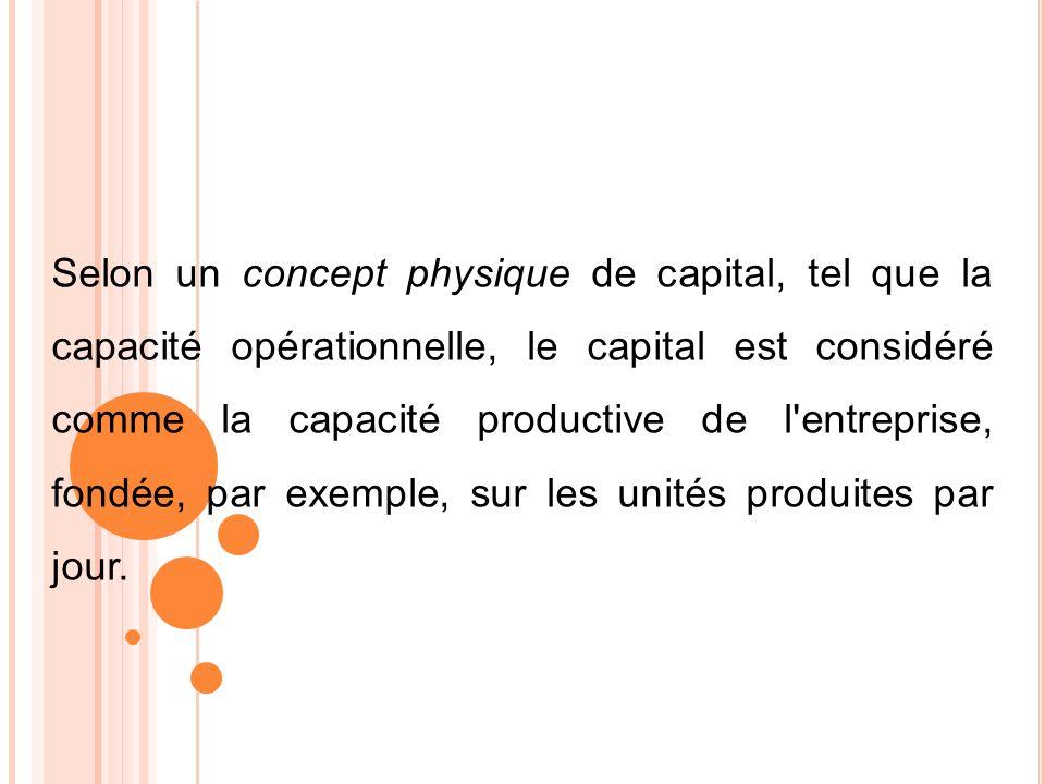 Selon un concept physique de capital, tel que la capacité opérationnelle, le capital est considéré comme la capacité productive de l entreprise, fondée, par exemple, sur les unités produites par jour.