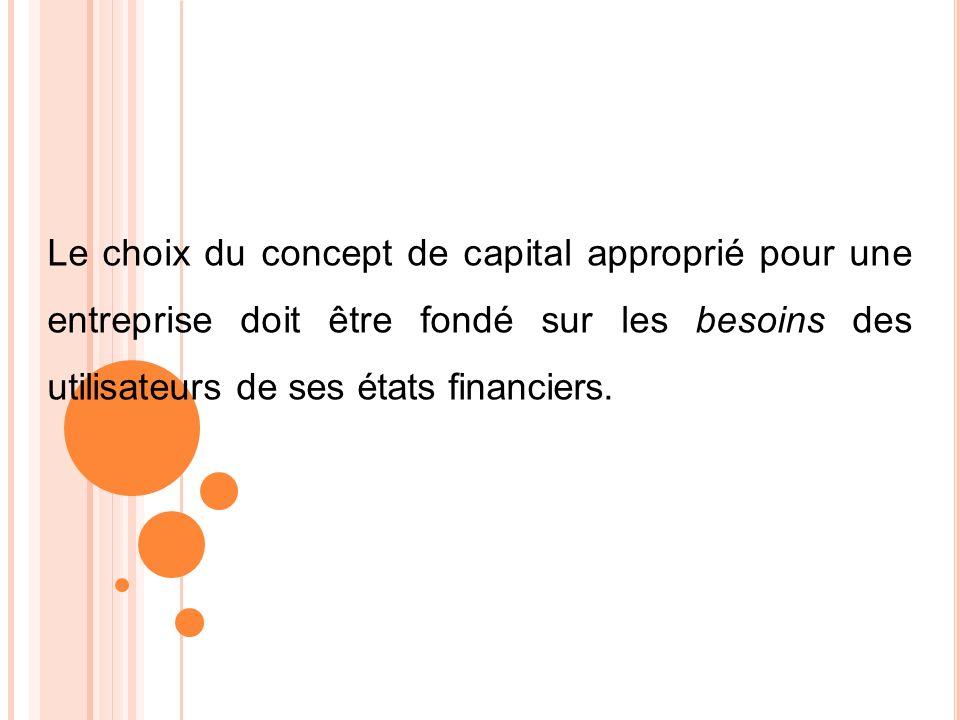 Le choix du concept de capital approprié pour une entreprise doit être fondé sur les besoins des utilisateurs de ses états financiers.