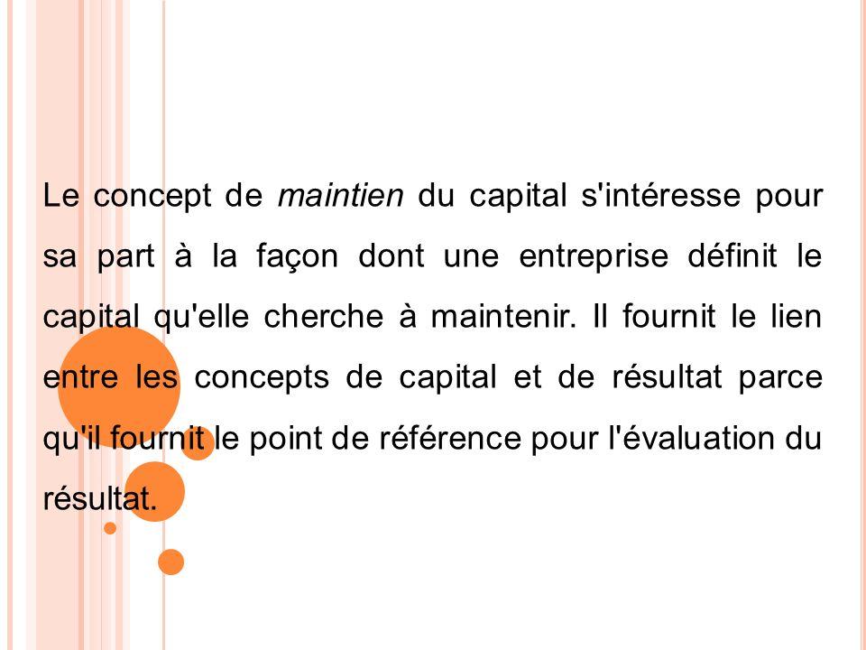 Le concept de maintien du capital s intéresse pour sa part à la façon dont une entreprise définit le capital qu elle cherche à maintenir.