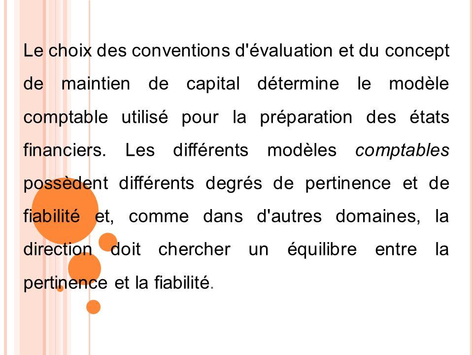 Le choix des conventions d évaluation et du concept de maintien de capital détermine le modèle comptable utilisé pour la préparation des états financiers.