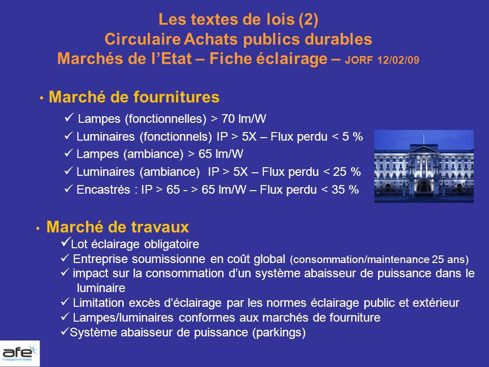 Les textes de lois (2) Circulaire Achats publics durables Marchés de l'Etat – Fiche éclairage – JORF 12/02/09