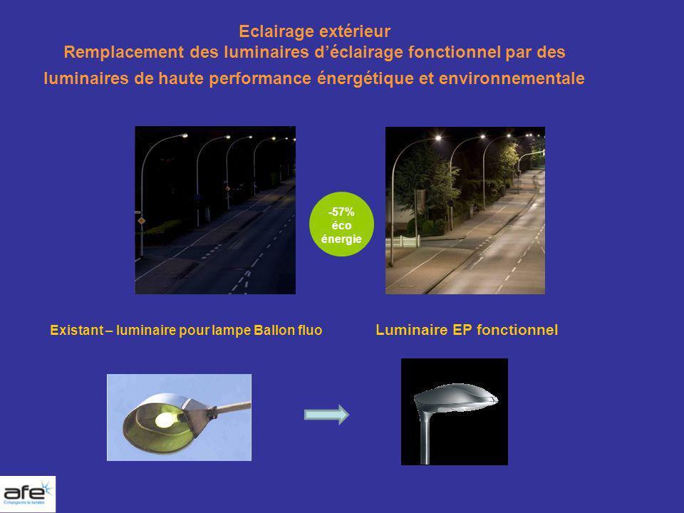 Eclairage extérieur Remplacement des luminaires d'éclairage fonctionnel par des luminaires de haute performance énergétique et environnementale