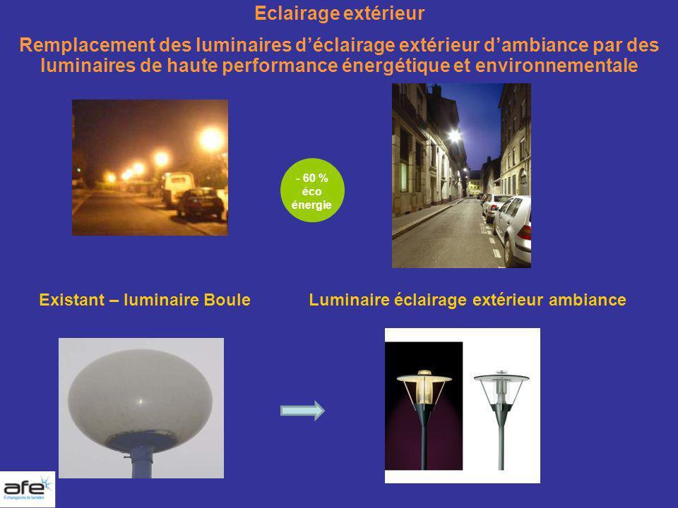 Eclairage extérieur Remplacement des luminaires d'éclairage extérieur d'ambiance par des luminaires de haute performance énergétique et environnementale