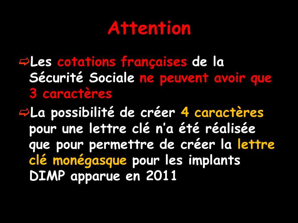 Attention Les cotations françaises de la Sécurité Sociale ne peuvent avoir que 3 caractères.