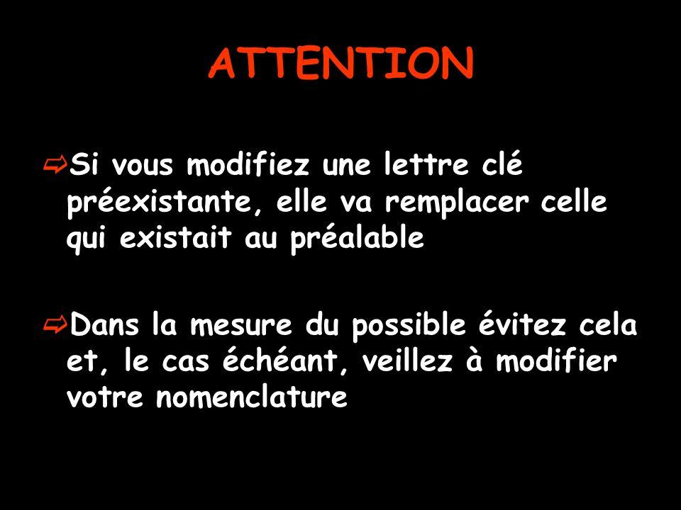 ATTENTION Si vous modifiez une lettre clé préexistante, elle va remplacer celle qui existait au préalable.