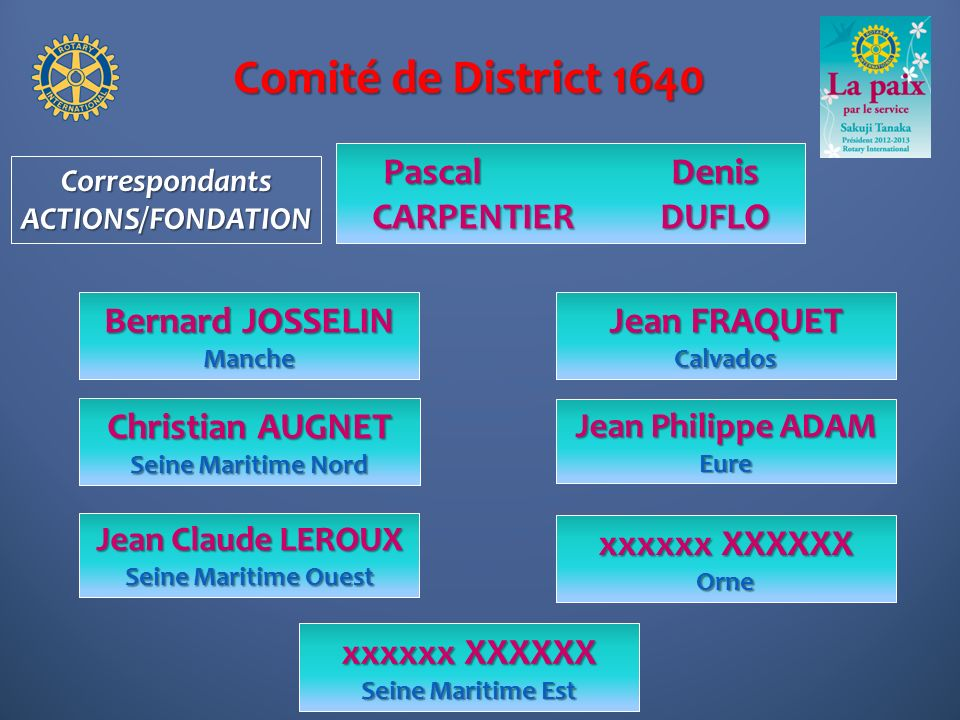 Comité de District 1640 Pascal Denis CARPENTIER DUFLO Bernard JOSSELIN