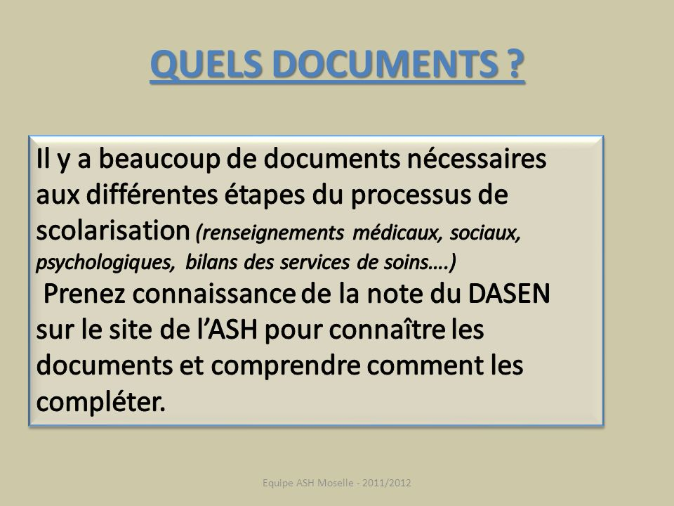QUELS DOCUMENTS