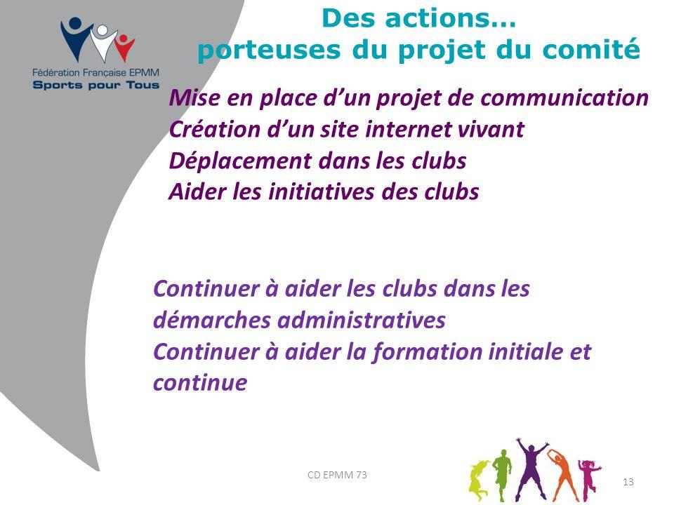 Des actions… porteuses du projet du comité