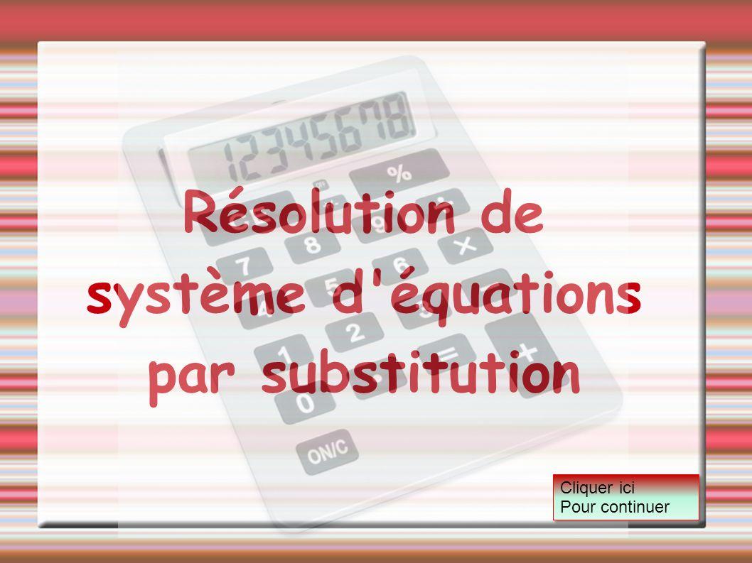 Résolution de système d équations par substitution