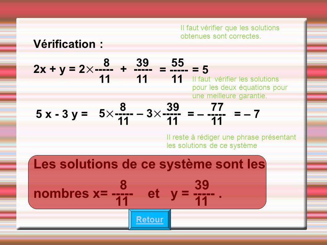 Les solutions de ce système sont les nombres x= ----- et y = ----- . 8
