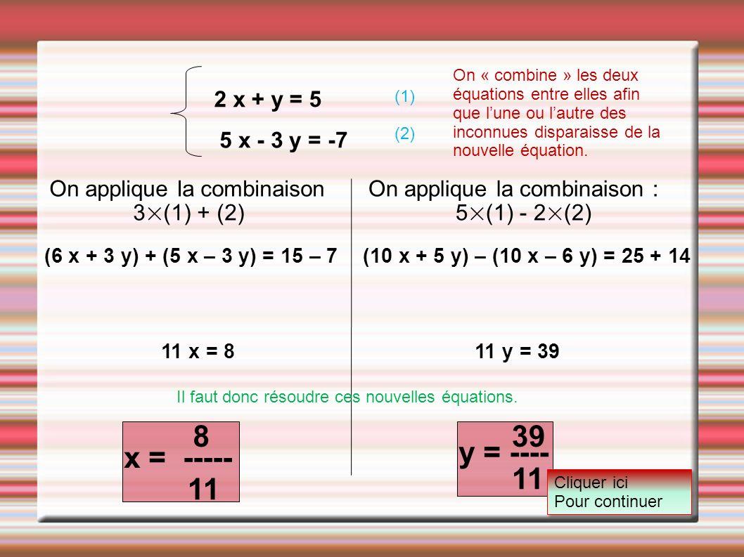 8 39 y = ---- x = ----- 11 11 2 x + y = 5 5 x - 3 y = -7