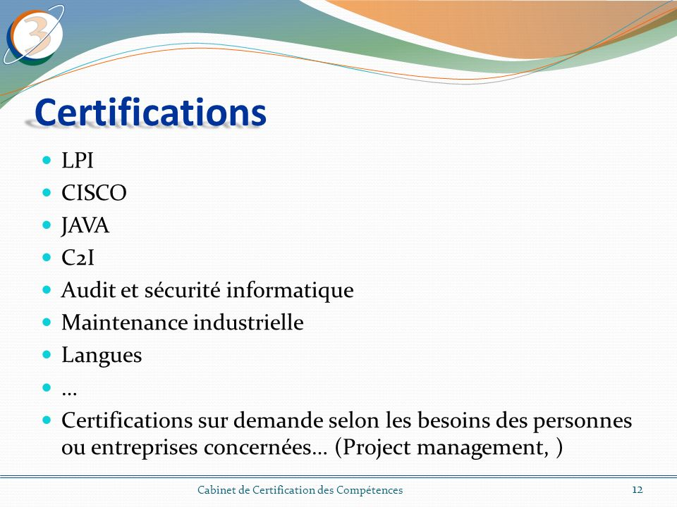 Certifications LPI CISCO JAVA C2I Audit et sécurité informatique