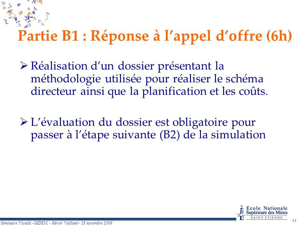 Partie B1 : Réponse à l'appel d'offre (6h)