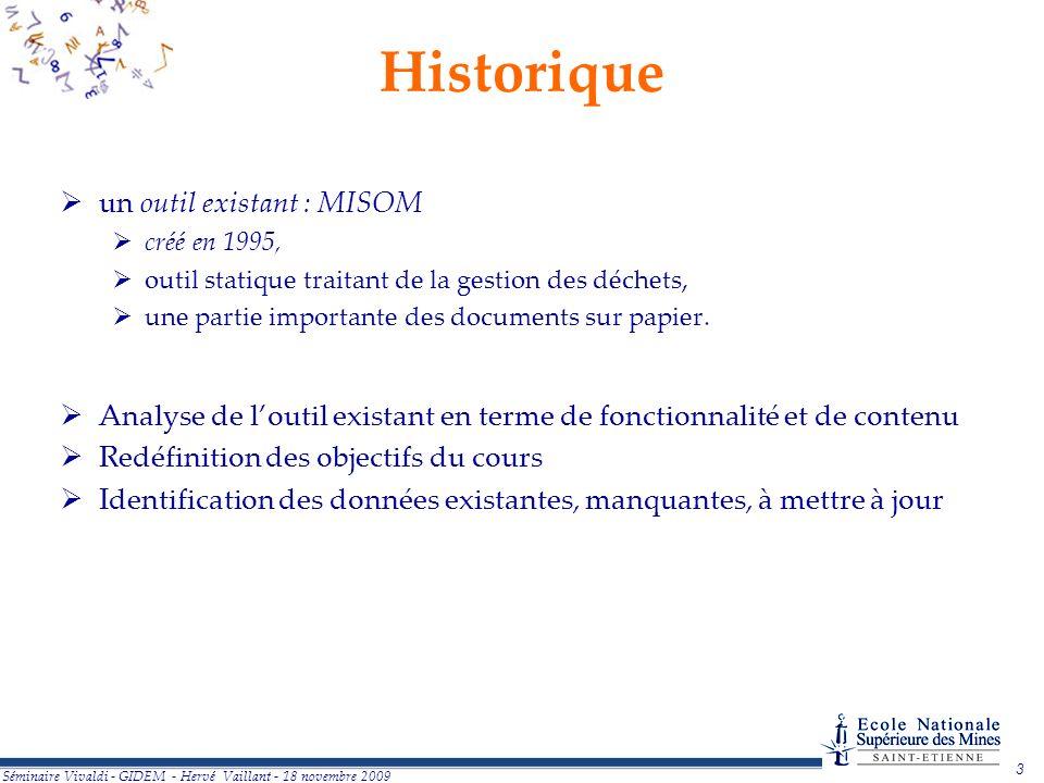 Historique un outil existant : MISOM