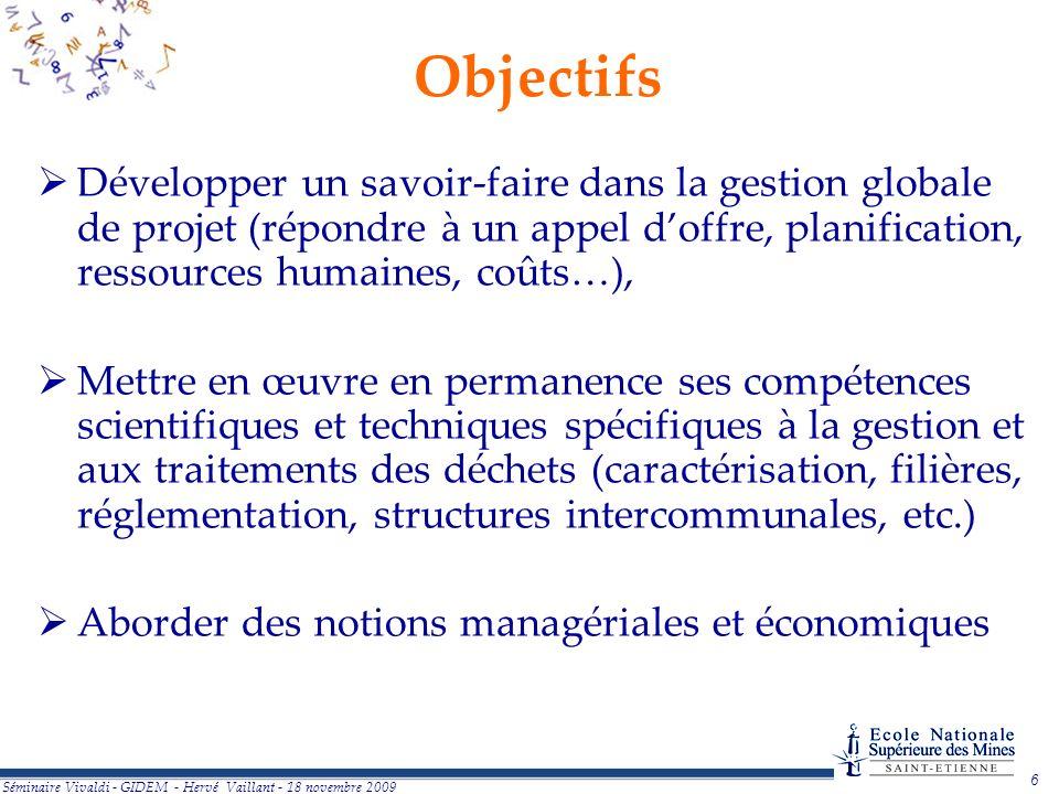 Objectifs Développer un savoir-faire dans la gestion globale de projet (répondre à un appel d'offre, planification, ressources humaines, coûts…),