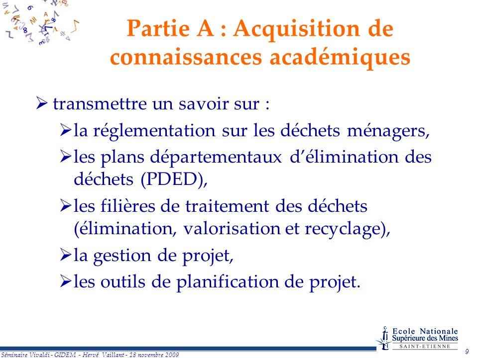 Partie A : Acquisition de connaissances académiques