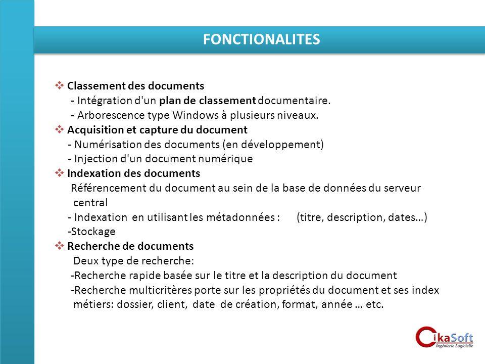 FONCTIONALITES Classement des documents
