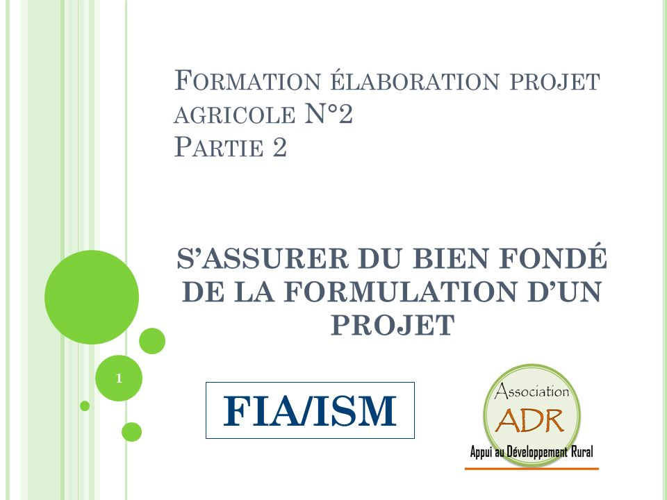 Formation élaboration projet agricole N°2 Partie 2