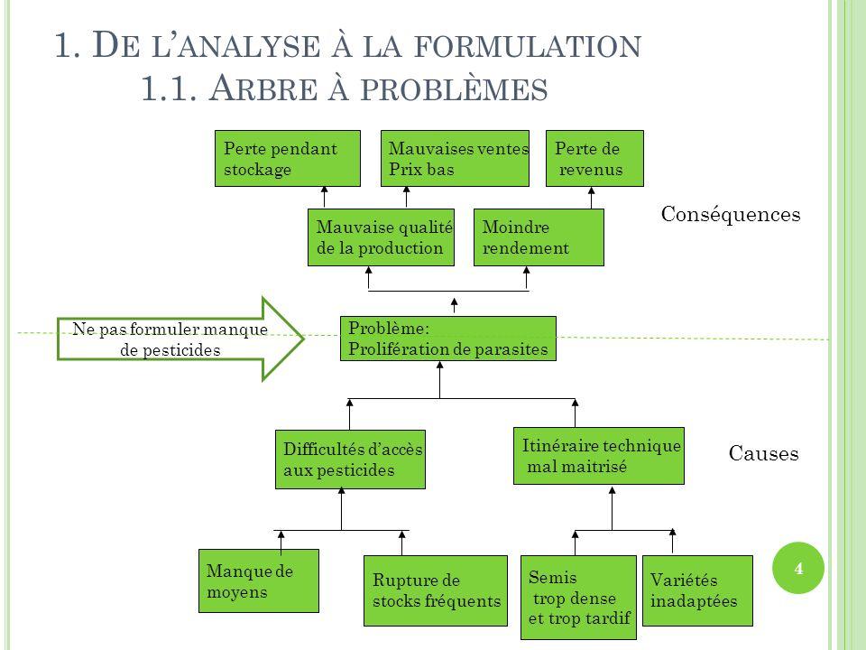 1. De l'analyse à la formulation 1.1. Arbre à problèmes