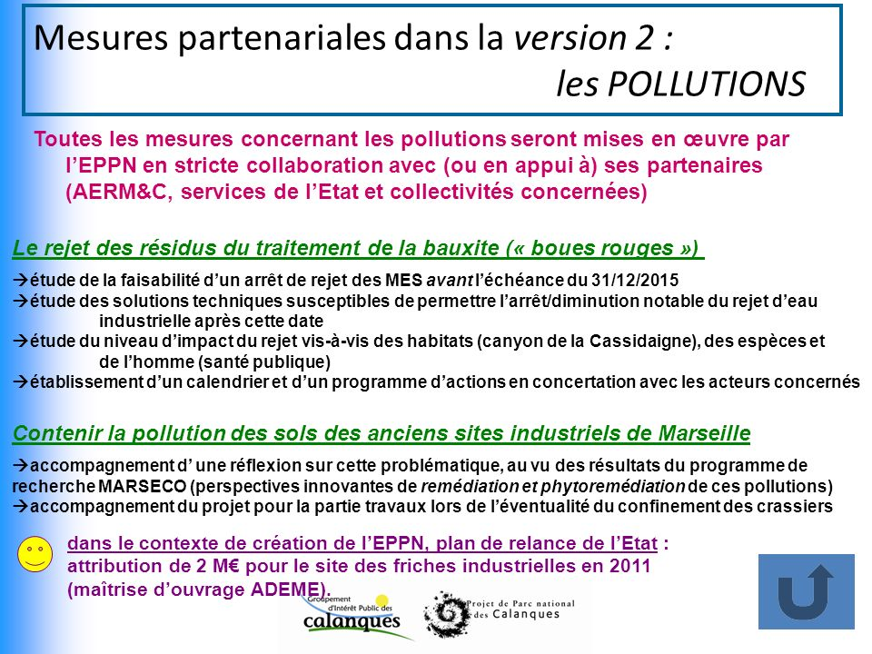 Mesures partenariales dans la version 2 : les POLLUTIONS
