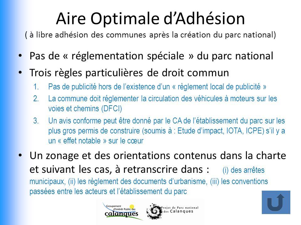 Aire Optimale d'Adhésion ( à libre adhésion des communes après la création du parc national)