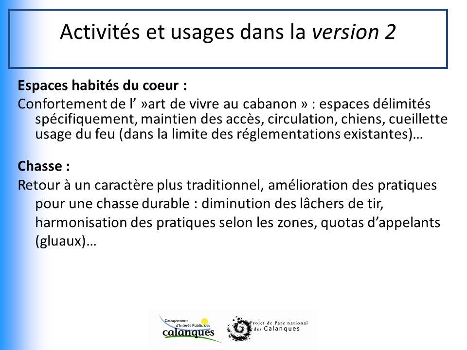 Activités et usages dans la version 2
