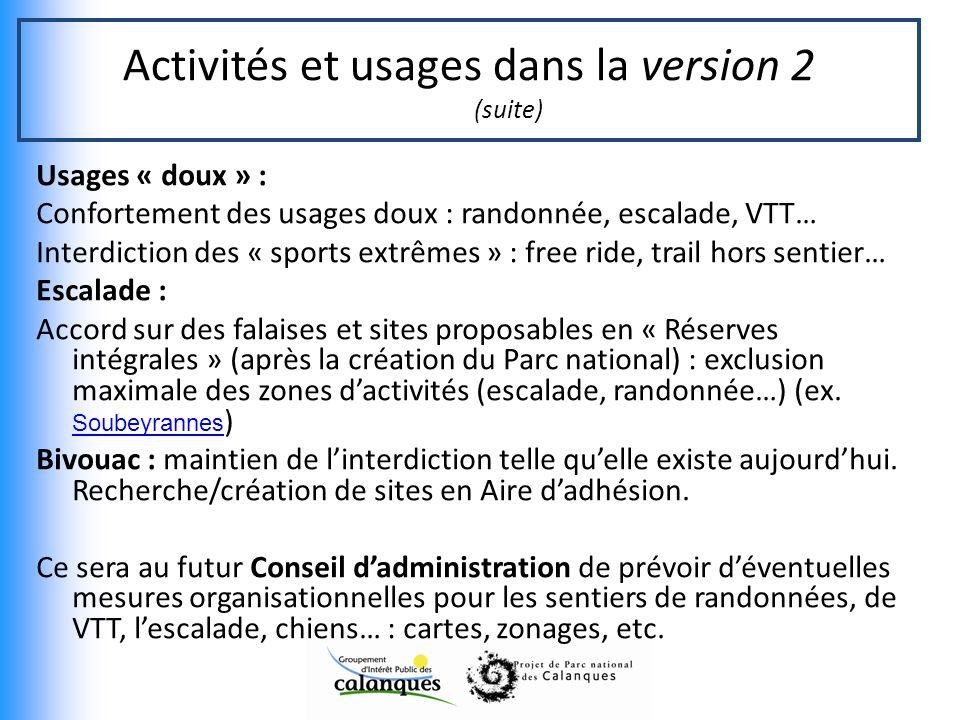Activités et usages dans la version 2 (suite)
