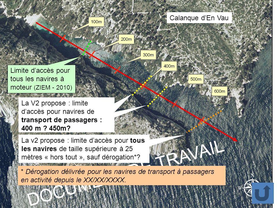 Calanque d'En Vau Limite d'accès pour tous les navires à moteur (ZIEM - 2010)
