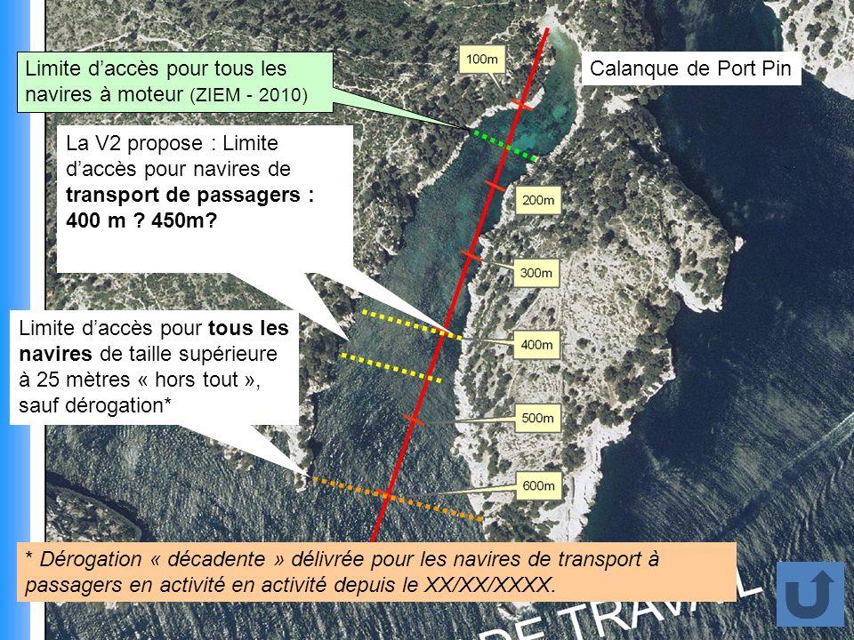 Limite d'accès pour tous les navires à moteur (ZIEM - 2010)