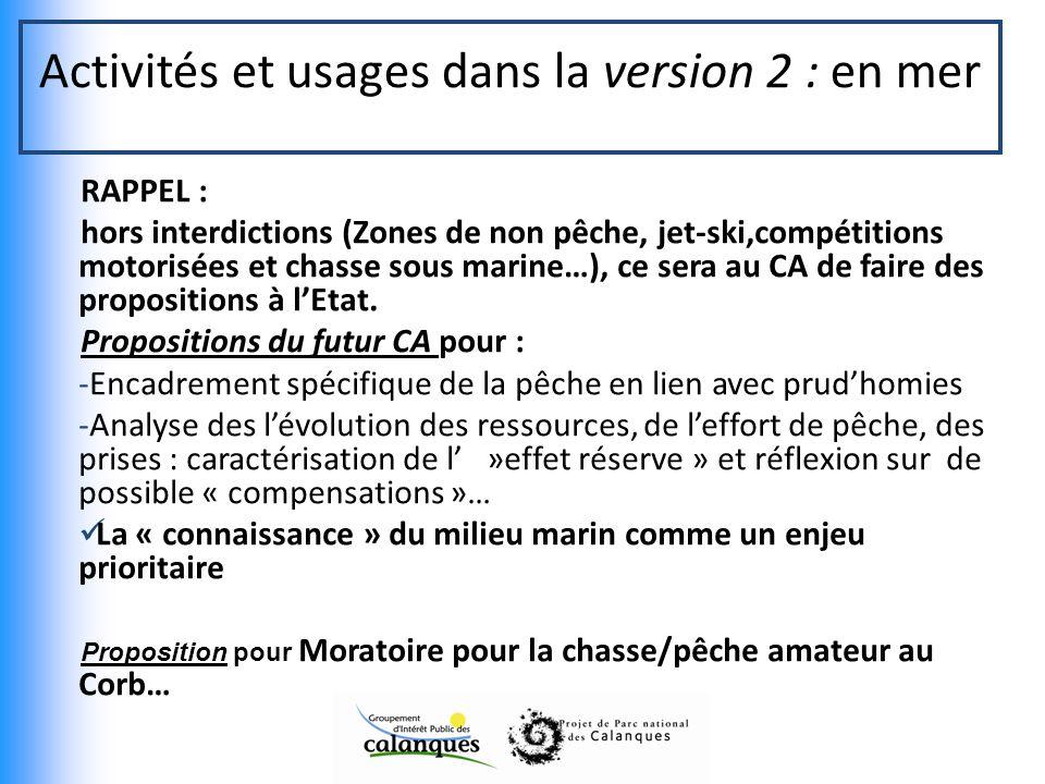 Activités et usages dans la version 2 : en mer