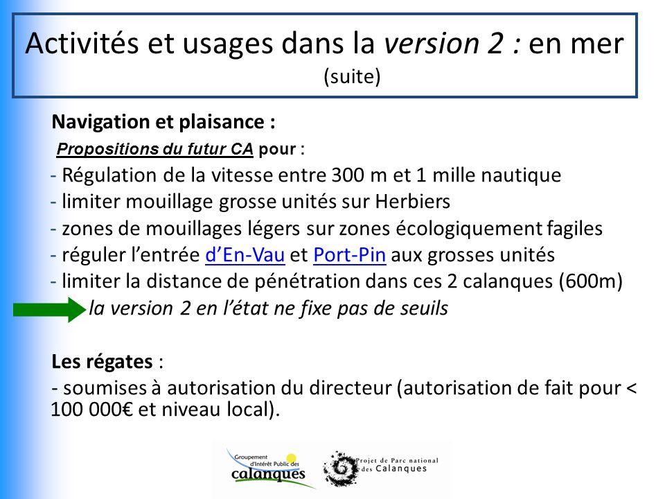 Activités et usages dans la version 2 : en mer (suite)