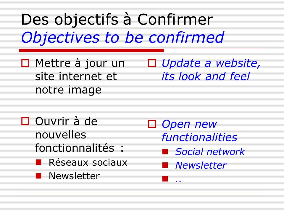 Des objectifs à Confirmer Objectives to be confirmed
