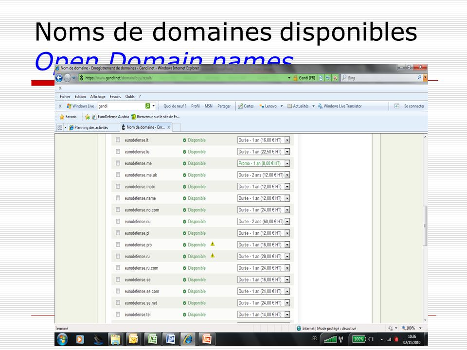 Noms de domaines disponibles Open Domain names