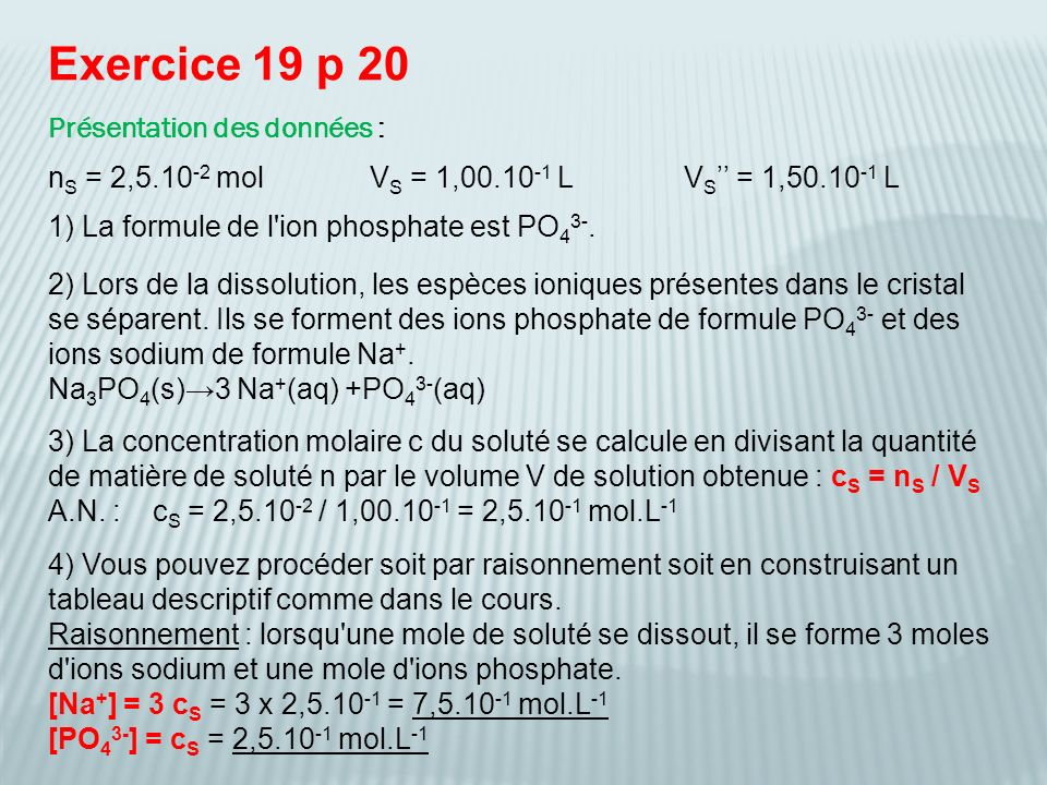 Exercice 19 p 20 Présentation des données :