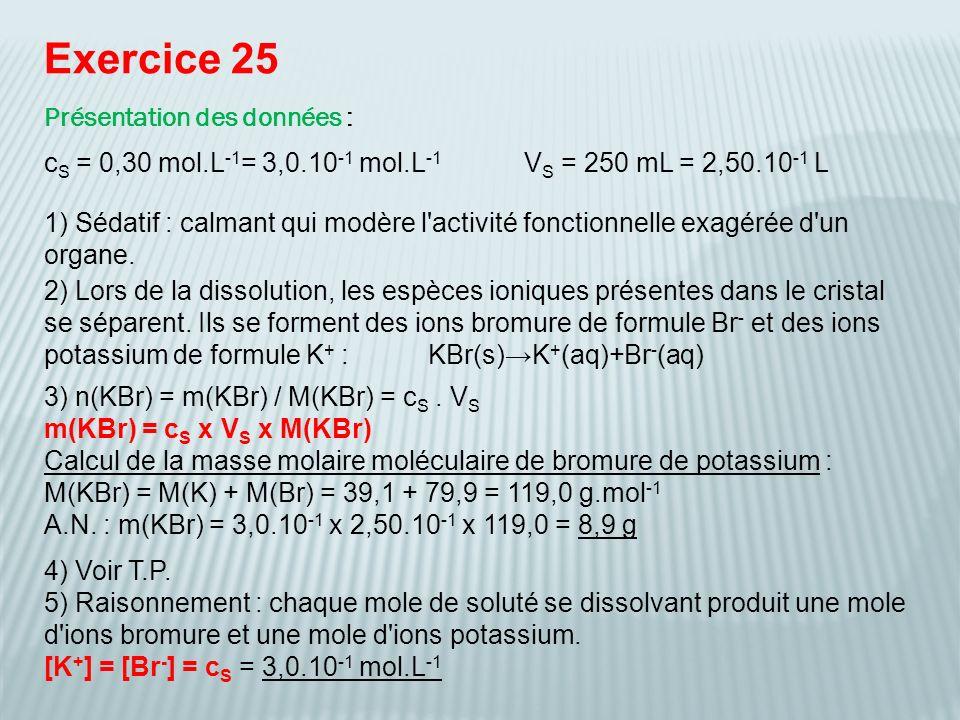 Exercice 25 Présentation des données :