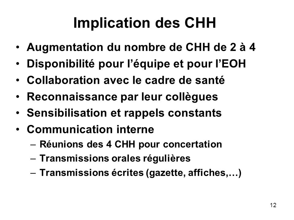 Implication des CHH Augmentation du nombre de CHH de 2 à 4