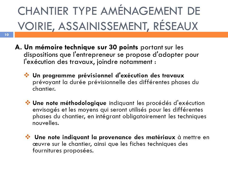 CHANTIER TYPE AMÉNAGEMENT DE VOIRIE, ASSAINISSEMENT, RÉSEAUX