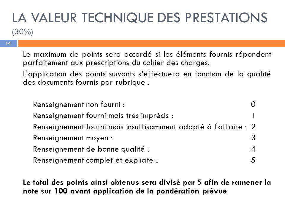LA VALEUR TECHNIQUE DES PRESTATIONS (30%)