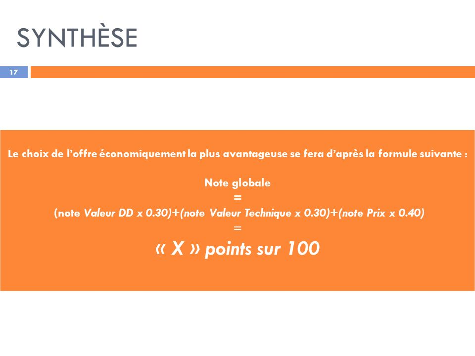 SYNTHÈSE « X » points sur 100 Note globale =