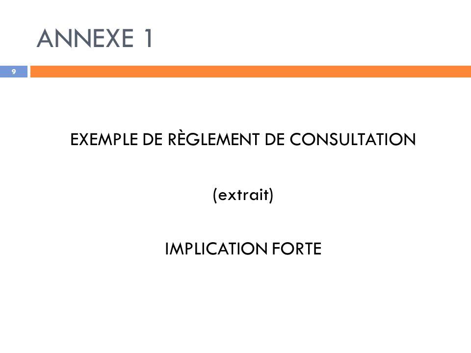 EXEMPLE DE RÈGLEMENT DE CONSULTATION
