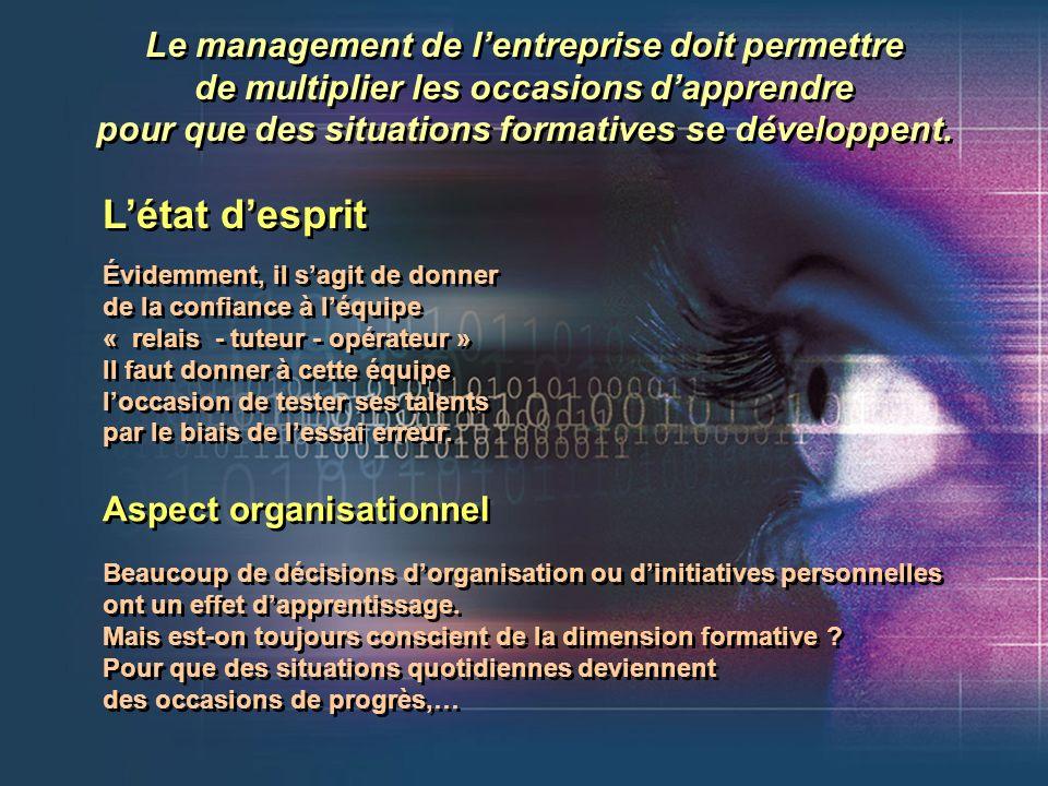 L'état d'esprit Le management de l'entreprise doit permettre