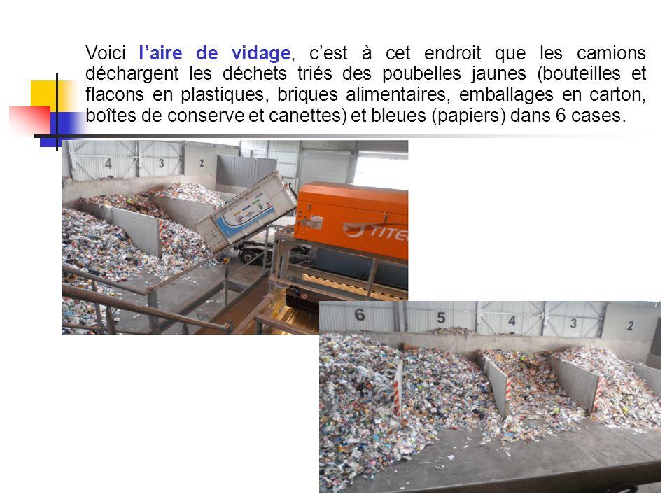 Voici l'aire de vidage, c'est à cet endroit que les camions déchargent les déchets triés des poubelles jaunes (bouteilles et flacons en plastiques, briques alimentaires, emballages en carton, boîtes de conserve et canettes) et bleues (papiers) dans 6 cases.