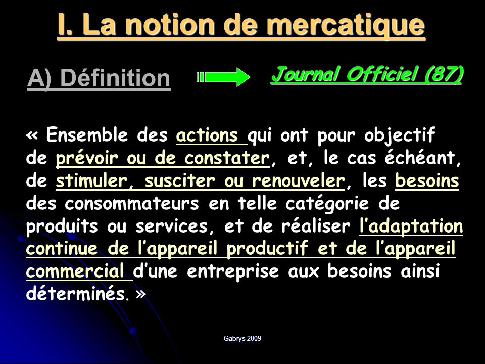 I. La notion de mercatique
