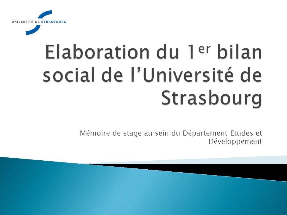 Elaboration du 1er bilan social de l'Université de Strasbourg