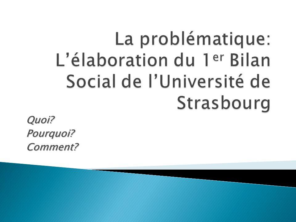 La problématique: L'élaboration du 1er Bilan Social de l'Université de Strasbourg