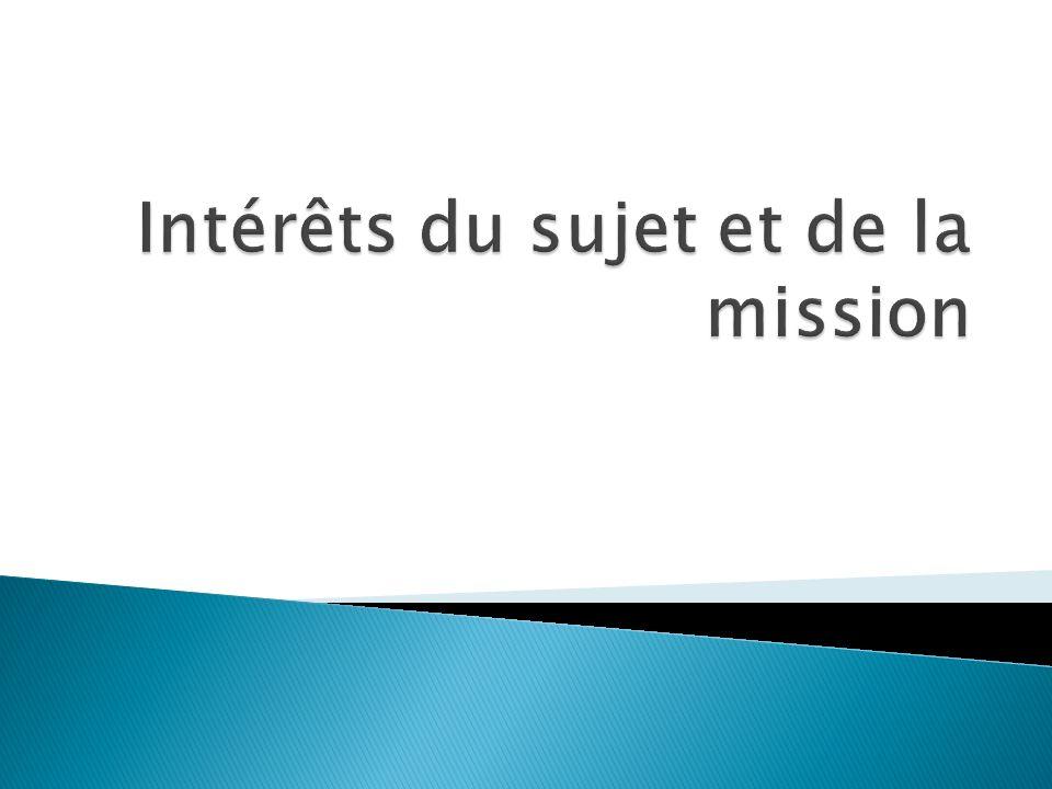 Intérêts du sujet et de la mission